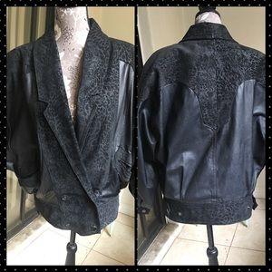 Vintage 90's Winlit Leather Moto Bomber Jacket Sm